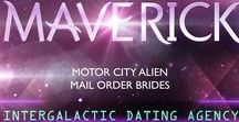 book: Maverick / Inspiration board for the third book in the Motor City Alien Mail Order Brides series