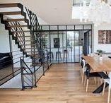 Escaliers acier-bois-verre  100 % sur mesure / Escalier artisanal 100% sur mesure, mariage de l'acier, bois, et verre