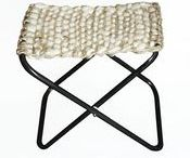 Matero: weaven portable stools / Made in Argentina - hand-loomed   Dimensions: INCH 15,7x11,8 x 15,7 high Weight approx.(without packaging): LB 5 Materials: Iron, argentinian sheep's wool, argentinian cow leather and yute  *  Available upon request: info@carbonoatelier.com   (ask for product catalogue)