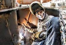 Welders in Action / Photos of welders working on the job and taking selfies.