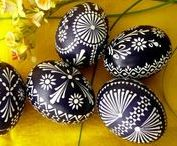 Wax Painted Easter Eggs / Easter eggs decorated using wax-resistant technique or simply wax painting.