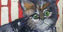 """Cats"" - painting by Miroslaw Hajnos / cat, kot, gatto, katze, chat, gato - painting by Miroslaw Hajnos"