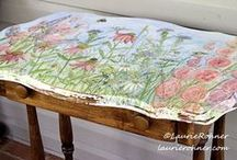 Painted Furniture Studio / Distinctive hand painted cottage farmhouse painted furniture and home decor with nature and flowers hand painted by Laurie Rohner for Between The Weeds. Included are some of my favorite finds at Pinterest