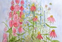 Illustrations Nature Art / Original Watercolor and Acrylic Illustration Nature Art woodland wildflowers bees ferns and botanical garden flowers, wildlife and birds painted by hand one of a kind work. / by Laurie Rohner Studio