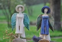 Ceramic Angels / An inspiration board for creating handmade ceramic angels either on the potter's wheel or from clay slabs.