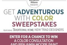 "BenMooreColorSweepstakes / Traditional Home and Benjamin Moore have joined three New Trad designers for a Pinterest contest to spread the buzz about Benjamin Moore's newest paint color collections! We've each created a special Pinterest mood board embodying a ""traditional-with-a-twist"" approach, and we invite you to join the fun. Browse our boards, create your own, and enter for a chance to win a design consultation by one of us - plus paint  provided by Benjamin Moore. Let's go!  Visit www.TraditionalHome.com/BenMoore"