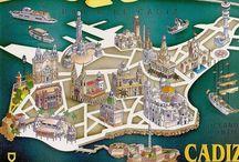 Cartelería Vintage / Carteles y publicidad vintage. España. Andalucía. Cádiz.