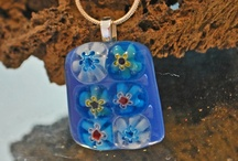 Glass fused jewellery I make / A small selection of some of my hand made kiln fused glass necklaces x