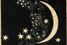 """Moons and stars  / The stars are like letters which inscribe themselves at every moment in the sky. Everything in the world is full of signs. All events are coordinated. All things depend on each other; as has been said: """"Everything breathes together.""""—Plotinus / by Heather Palmer"""