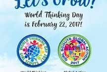 World Thinking Day / On February 22 of each year, Girl Scouts and Girl Guides from 146 countries celebrate World Thinking Day (WTD)—that's one BIG celebration!  World Thinking Day is not only a great opportunity to rally the global sisterhood around a particular theme—it's also a chance to support girls as they travel internationally, connect with sister Girl Guides, and take action globally.