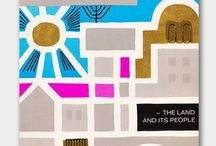 """ARTISTDan Gelbart / Israel: The Land and Its People, 1962 A compact and visually rich 1962 modern tourist guide to Israel. Printed with gold metallic, cyan, magenta and black inks, these beautifully simplistic mixed line art and folk art style. The credit line reads, """"Drawings and lay-out by Dan Gelbart."""" But who is the artist? I have struck out finding any online information on this particular Dan Gelbart."""