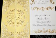 Our Wedding Invitations / Wedding invitation suites include but are not limited to: wedding invitation, mailer envelope, response card and response envelope, reception card, directions card and accommodation cards. Inner and outer invitation envelopes can include digital calligraphy and/or hand calligraphy.