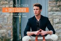Spring Weather and Soft Leather / This is our Spring shop for 2014 showcasing new leather matched with cloth material, brand new belts, travel accessories and others. You can find this shop on our website at http://bosca.com/bosca-shops/spring-weather-soft-leather.html  / by Bosca Accessories