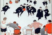 """ARTISTW. Heath Robinson / William Heath Robinson (1872–1944) was an English cartoonist and illustrator best known for drawings of ridiculously complicated machines for achieving simple objectives. In the U.K., the term """"Heath Robinson"""" entered the language during the 1914–1918 First World War as a description of any unnecessarily complex and implausible contrivance. """"Heath Robinson contraption"""" is perhaps more often used in relation to temporary fixes using ingenuity and whatever is to hand."""