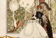 """ARTISTKay Nielsen / Kay Rasmus Nielsen (1886–1957) was a Danish illustrator who was popular in the early 20th century, the """"golden age of illustration"""".  Nielsen is also known for his collaborations with Disney for whom he contributed many story sketches and illustrations (Nielsen did the Bald Mountain scenes in Fantasia)."""