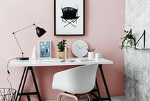 Home Office / I work from home, so I've created a lovely small workspace to design and be creative in. Organized yet chic, minimalist and beautiful.