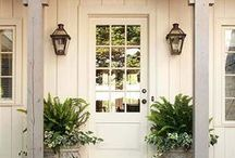 Home Exterior Ideas with White Trim / These are my dream home exterior ideas for when my budget is a bit bigger. Houses with beautiful colors, in brick or stone. I like eclectic, which in my case means a mishmash of beach and modern, rustic and traditional and country and craftsman. Or does it just mean I can't choose? I did paint the trim white and the windows black on the outside when we moved in because that look's totally Me!