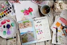 Mixed media e art journal / Art journaling, collage, drawings and mixed media projects