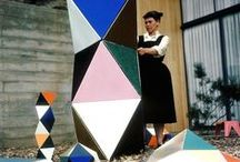 Ray Eames / Ray Eames (1912 - 1988) was one half of the duo (the other being her husband Charles) best known for their ground-breaking contributions to architecture, furniture design, industrial design, and manufacturing.