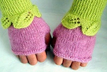 Knit mittens and handwarmers