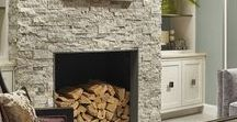 Stacked Stone Fireplaces / Want to add style to your room?  Add a stacked stone wall anywhere in your home = instant style!