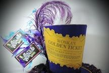 Willy Wonka / Chocolate and Candy Centerpieces and Party Signs with  a Willy Wonka and the Chocolate Factory theme.