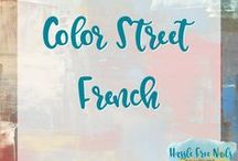 Color Street French Nail Polish Strips / Color Street nails are strips of real nail polish. They contain a base coat, polish and top coat. They are super easy to apply and will typically last 14 days. Check out my website and order yours www.mycolorstreet.com/faithsears