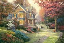 "Thomas Kinkade Lighting / Celebrate the master ""painter of light"" Thomas Kinkade with prints of his artwork, as well as gorgeous giclee lighting featuring his extraordinary paintings.  / by Lamps Plus"