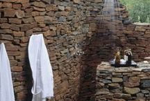 When stone and water meet... / Pools, water features and outdoor showers create interest and beauty with textures and sounds.  Refreshing and relaxing!