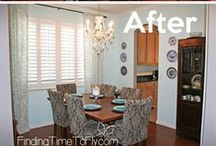 To Decorate ~ Dining Room / Decorating ideas for a robins egg blue dining room with clear & crystal accents and dark wood colors.