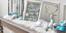 White Christmas / Christmas decorations with white as the main color with blue accents.