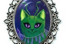 "Fantasy Cat Jewelry by Tigerpixie on Etsy / My Fantasy Cat Art on Beautiful Jewelry! Cameo Necklaces, Earrings, Bracelets & Rings! Purrrfect Gifts for You & the Cat Lovers in your life. All jewelry is created by me the artist, Carrie Hawks ""Tigerpixie"". Available in my Etsy Shop https://www.etsy.com/shop/tigerpixie"