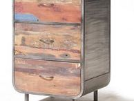 Recycled Colorful Wood & Metal Industrial Collecti