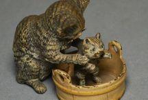Cats Figurine Bronze