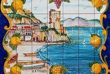 Ceramica Vietrese Paesaggi della Costiera Pannelli Muali / Pannelli murali in ceramica di vietri lavorati e decorati a mano - Paesaggi della Costiera Amalfitana e Sorrentina