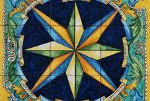 Ceramiche di Vietri Rose dei Venti Pannelli Murali / Pannelli murali in ceramica di vietri decorata a mano - Rose dei venti e simboli nautici