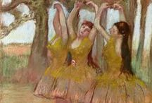 """Edgar Degas / """"Edgar Degas born Hilaire-Germain-Edgar De Gas, 1834–1917), was a French artist famous for his work in painting, sculpture, printmaking and drawing. He is regarded as one of the founders of Impressionism although he rejected the term, and preferred to be called a realist.[1] A superb draftsman, .....over half of his works depict dancers. These display his mastery in the depiction of movement, as do his racecourse subjects and female nudes."""" Wikipedia"""