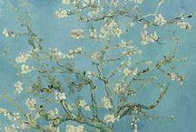 van Gogh - série / hlavní série obrazů: portréty, vlastní podobizny, květiny, cypřiše, květiny (slunečnice, rozkvetlé mandloně), olivové háje, rozkvetlé ovocné sady, obilná pole, (Portraits, Self-portraits, Flowers, Cypresses, Olive Trees, Orchards, Wheat fields)