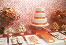 Orange Wedding Inspiration / Orange can be played fresh, summery and citrus, or warm, autumn, and cozy.  One of the beautiful advantages of choosing a palette with orange is that it can be easily combined with so many other colors.  Orange, pink and yellow make a beautiful combination, as does orange, red and yellow, or orange and purple - there are so many possibilities!
