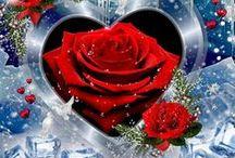 Srdce a růže / Vorlagen für Glückwunschkarten