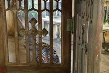 Vintage Confessional Doors Room Divider / Creating a room divider from late 1800s confessional doors For more pics and the story see my blogpost at http://jennifercampbelldesign.com/jewelry-with-a-tale-to-tell-blog/