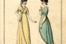 1790's Fashion plates / I love these 1790's fashion plates. Madame Merrick and Elowyn would have worked from ones like these in their shop above Pengelly's Boatyard. I use them for details of clothing and headdresses.