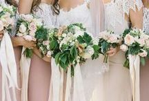 bridesmaids. / Peach/Coral/Pink Dresses and Teal/Aqua Accents