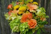 Bright and Vibrant Wedding Flowers / A category of bridal flowers to include bouquets for the bride, her attendants, boutonnieres and any other wedding floral arrangement.