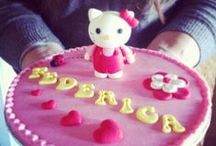 My cakes and......with hands in sugar paste...... /  my work:cake,cookie,confetti,topper