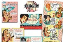 Vintage Bridal Shower Invitations / Here are a few examples of our wonderful wedding shower and engagement party invites will set the tone for fun, retro parties for the bride to be! Click the links to see all of the collections, with links to each. All are customizable to your event!