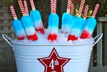 red, white and blue / Patriotic 4th of July party ideas -- 4th of July cakes, decorations, party foods, printable and favors. See more party ideas on Bloom Designs Online