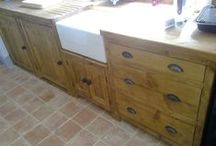 Our kitchens reclaimed pine & painted. / We use reclaimed pine timber to make free-standing units comprising of cupboards, drawers, integrated appliances, wine racks, plate racks & any other ideas you wish for!
