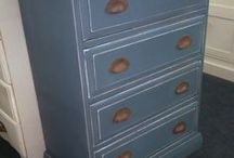 Painted recycled furniture..see our website for current stock. / We are lucky to find many different pieces for our shop which we refurbish & spray-paint using Farrow & Ball paint colours.