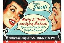 Really Retro Shower Invitations / The 1950s and 1960s had the style we love! What a fun theme for a bridal shower or couples wedding shower. You can even have your guests dress in vintage attire. Check out our Retro Housewife Bridal Shower invitations - have your whole day planned around the theme.